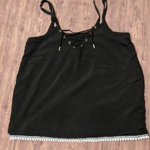Tops - Tank top blouse with lace and tie detailing black